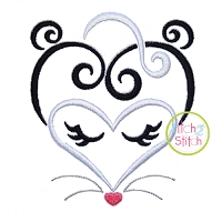 Heart Skunk Face Embroidery