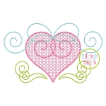 Heart Swirly Bow Motif Embroidery