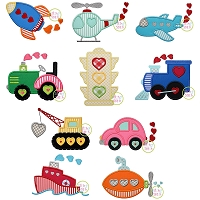 Heart Transportation Applique Set