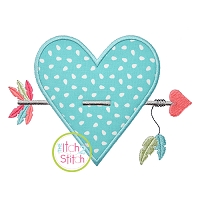 Heart Feathered Arrow Applique
