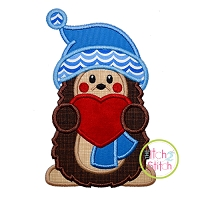 Hedgehog Holding Heart Boy Applique