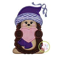Hedgehog Holding Heart Girl Applique