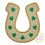 Horseshoe With Shamrocks Applique