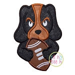 Hound Dog Football Mascot Applique