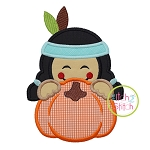 Indian Boy Pumpkin Peeker Applique