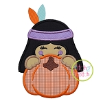 Indian Girl Pumpkin Peeker Applique