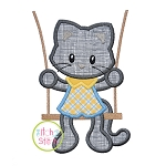 Kitty in the Swing Boy Applique