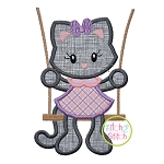 Kitty in the Swing Girl Applique