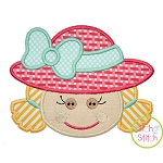 Little Scarecrow Face Girl Applique