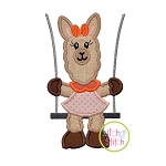 Llama in the Swing Girl Applique