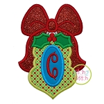 Long Ornament with Bow Monogram Applique