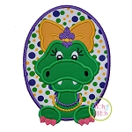 Mardi Gras Alligator Girl Applique
