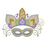 Unicorn Horn with Mardi Gras Mask Applique