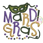Mardi Gras with Mask Applique