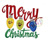 Merry Christmas Lights Applique