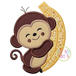 Monkey Hugs Banana Applique