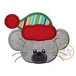 Winter Mouse Face Boy Applique