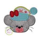 Winter Mouse Face Girl Applique