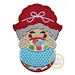 Mrs Claus Ornament Peeker Applique
