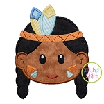 Native American Head Boy Applique