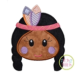 Native American Head Girl Applique