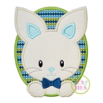 Oval Bunny Boy Applique