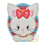 Oval Bunny Girl Applique