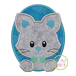 Oval Cat Boy Applique