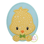 Oval Chick Boy Applique