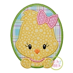 Oval Chick Girl Applique