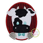 Oval Cow Boy Applique