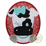 Oval Cow Girl Applique