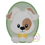 Oval Dog Boy Applique