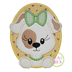Oval Dog Girl Applique