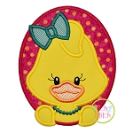 Oval Duck Girl Applique