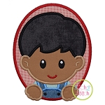 Oval Farm Boy Applique