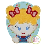 Oval Farm Girl Applique