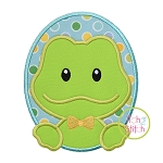 Oval Frog Boy Applique