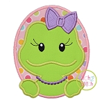 Oval Frog Girl Applique