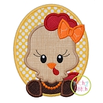 Oval Hen Girl Applique