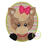 Oval Horse Girl Applique