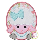 Oval Lamb Girl Applique