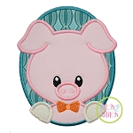 Oval Pig Boy Applique