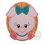 Oval Pig Girl Applique