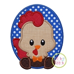 Oval Rooster Boy Applique