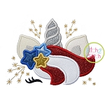 Patriotic Unicorn Horn Applique