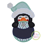 Penguin Boy Ornament Peeker Applique