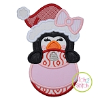 Penguin Girl Ornament Peeker Applique