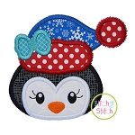 Winter Penguin Face Girl Applique