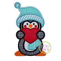 Penguin Holding Heart Boy Applique